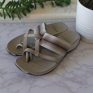 Merrell Zinnia Beige Silver Stripe Sandals